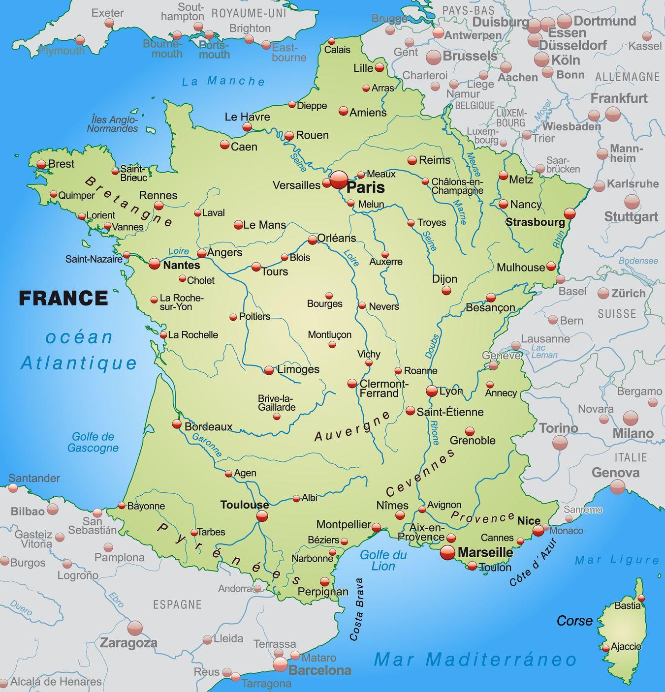 Autre carte des grandes villes en France
