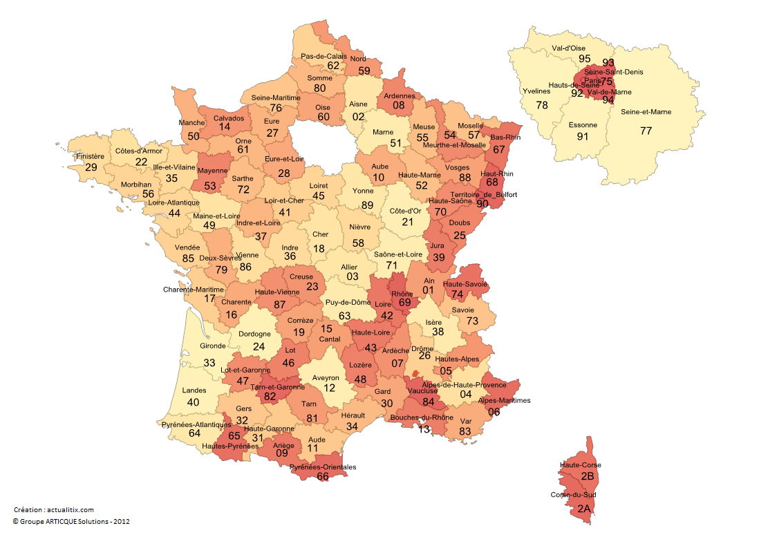 Départements de France métropolitaine