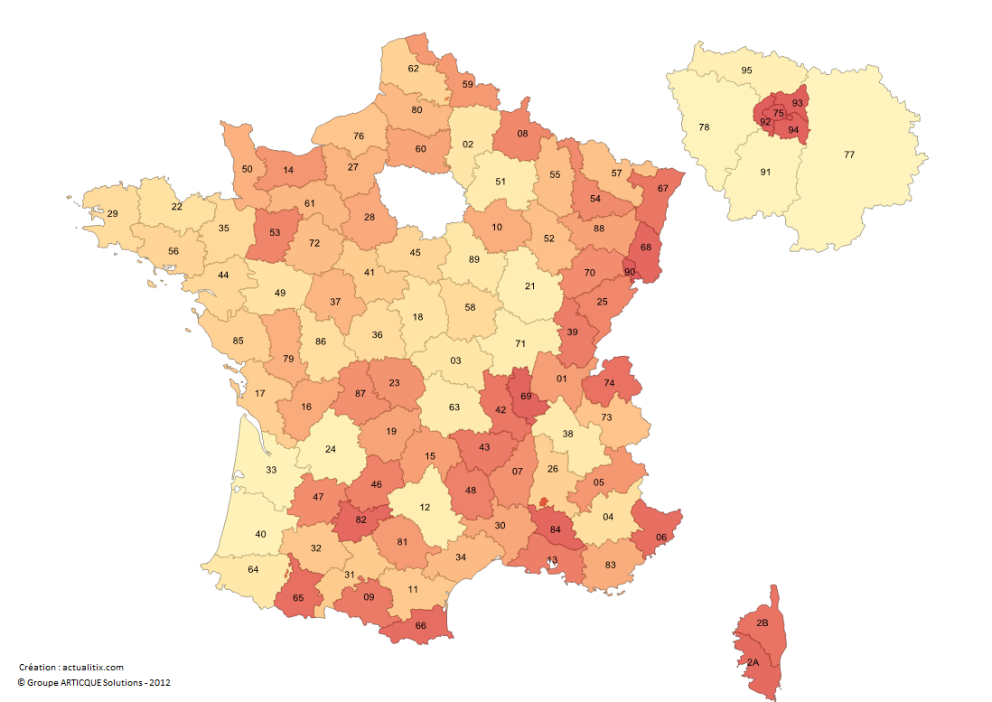 Numéros des départements de France métropolitaine