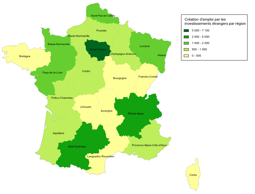 Investissement étrangers par régions