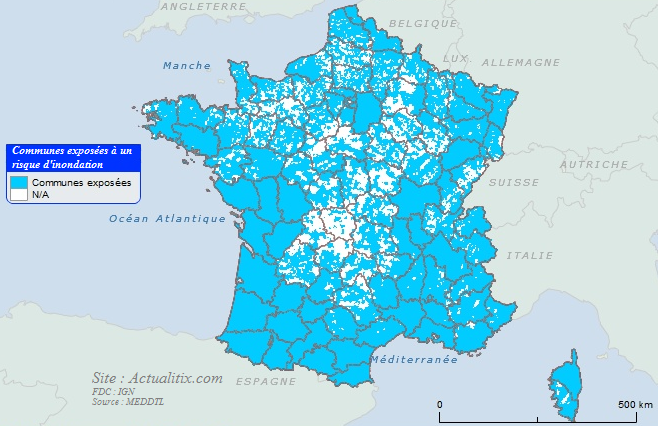 Carte des communes exposées aux inondations