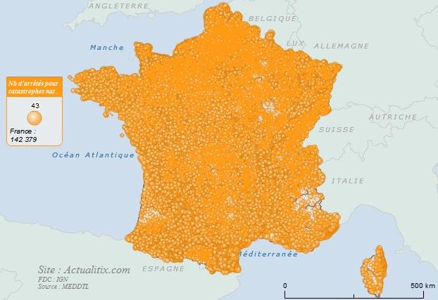 Carte nombre d'arrêtés pour catastrophes naturelles