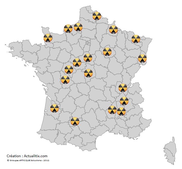 Carte des centrales nucléaires en France