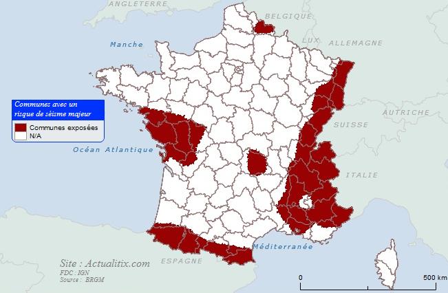 Carte communes avec risque de séisme