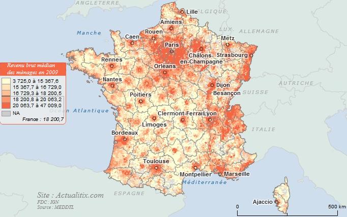 Carte revenu brut des ménages par communes
