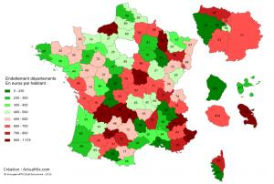 Carte de l'endettement par habitant des départements