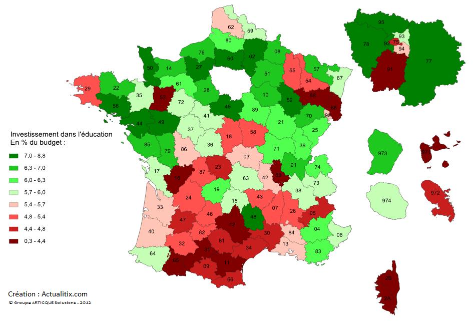 Carte France investissement dans l'éducation