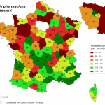 Nombre de pharmaciens par département en 2012
