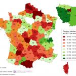 Revenu médian selon les départements en France en 2011
