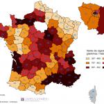 Vente de cigarettes par habitant et département en 2012