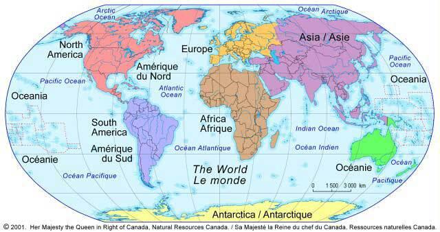 Carte des continents du monde