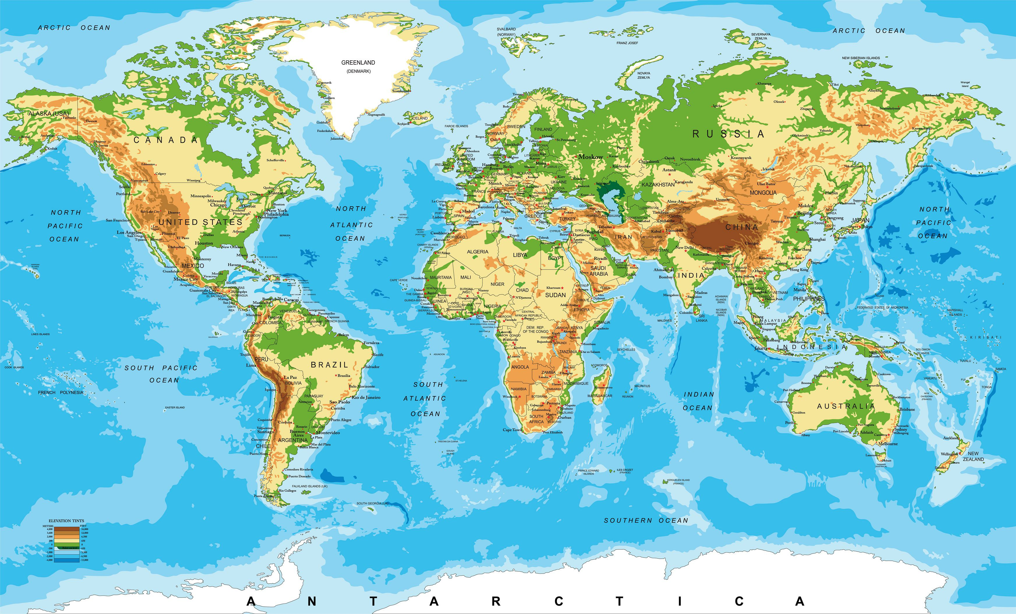 Carte du monde le relief