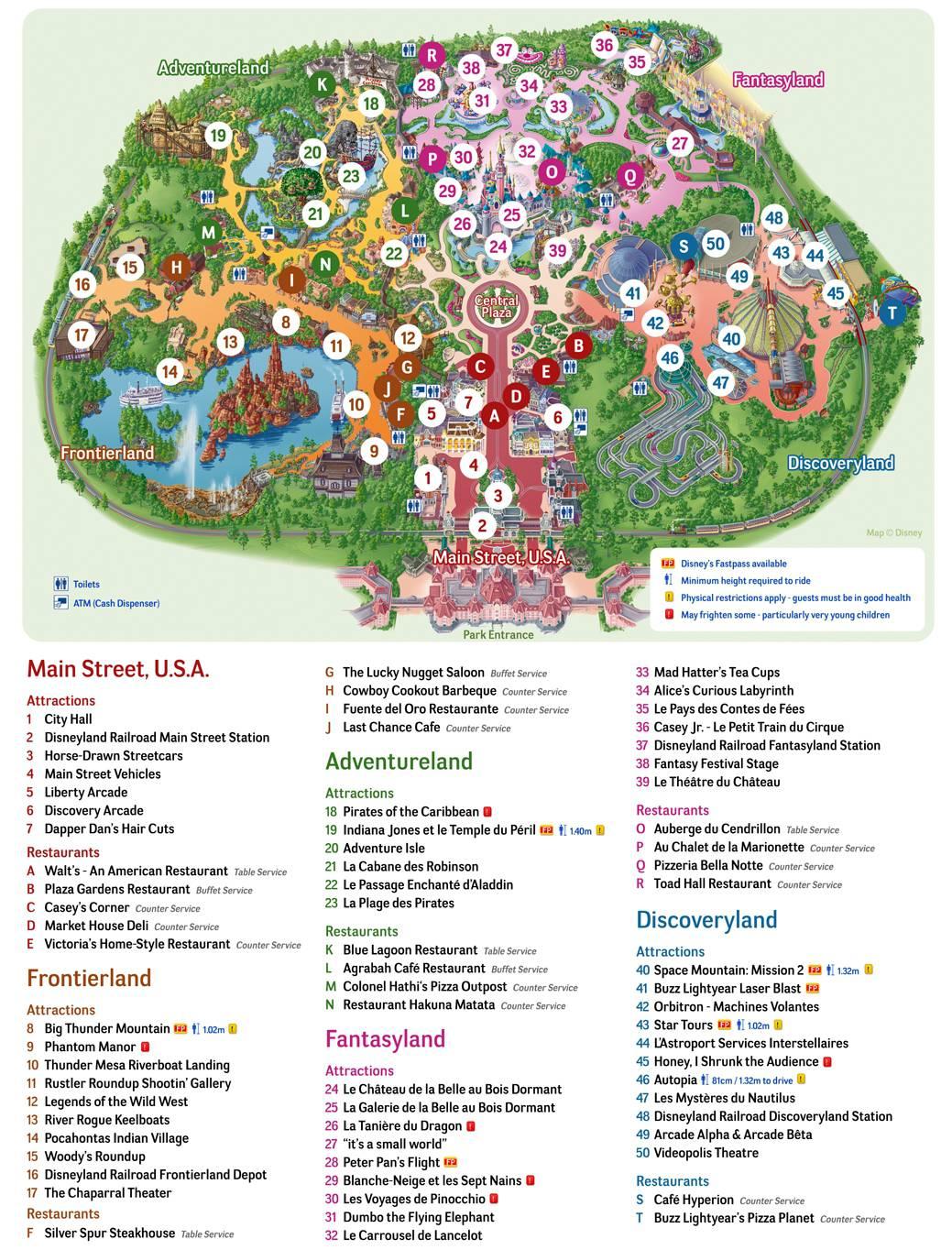 Plan parc Disneyland Paris