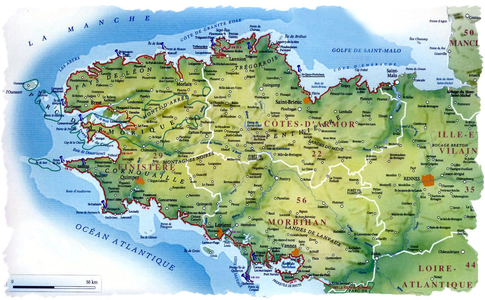 Carte de la bretagne villes relief sites touristiques - Office du tourisme perros guirec bretagne ...