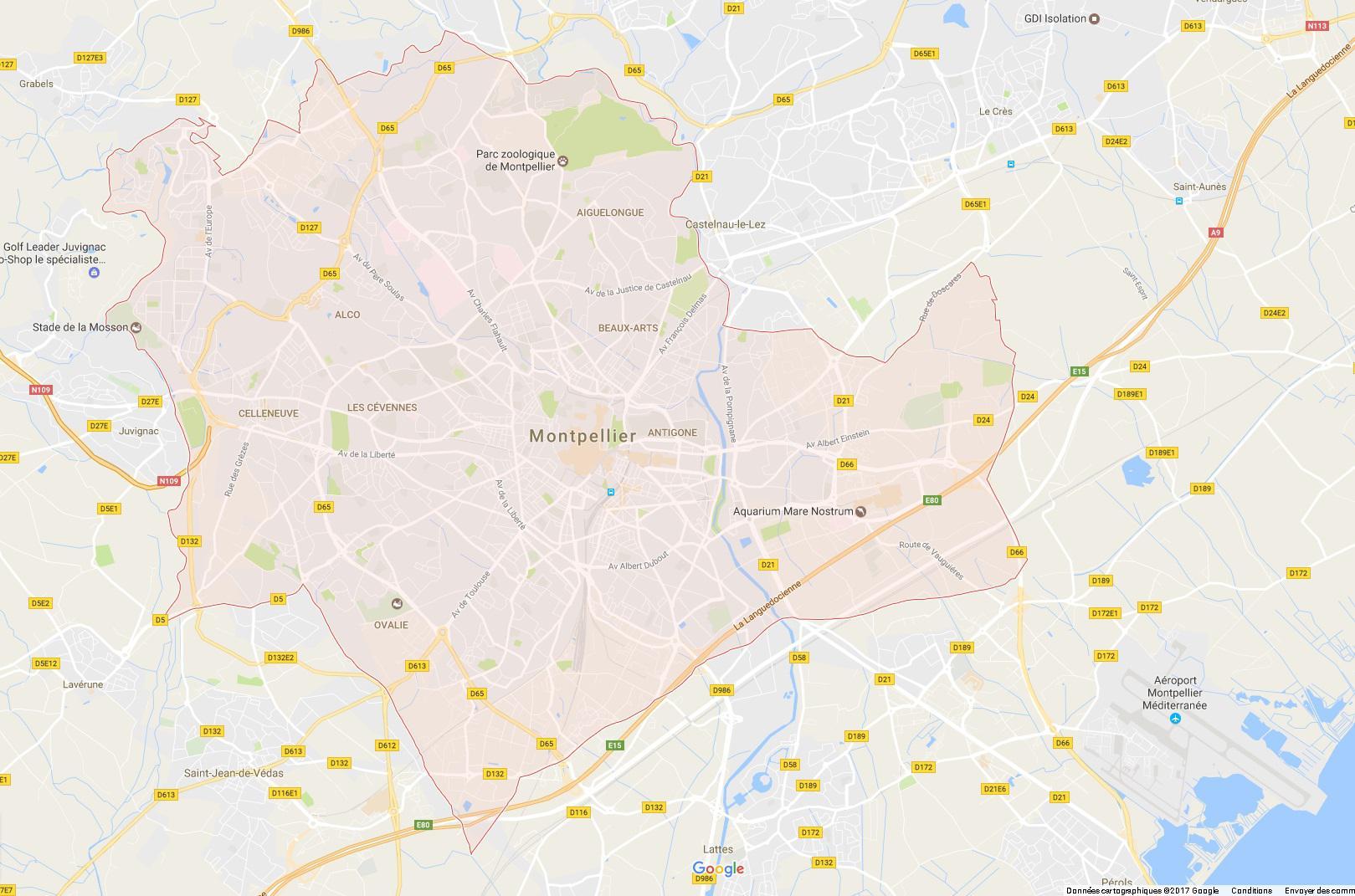 Carte entière de Montpellier