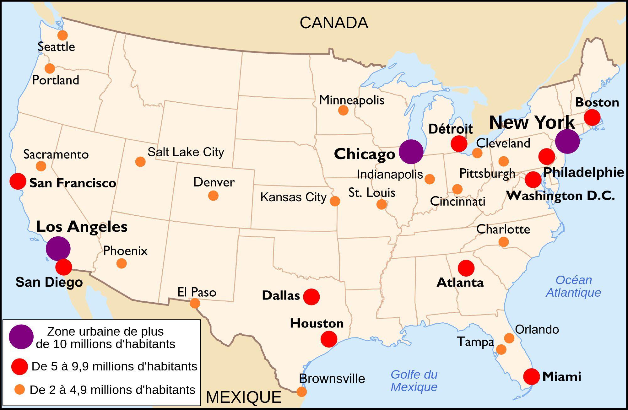 Carte Des Grande Ville Des Etats Unis