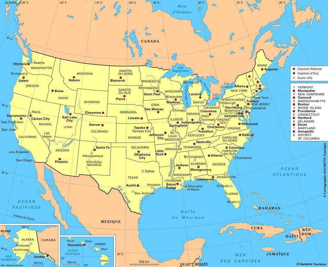 Carte Canada Etats Unis Villes
