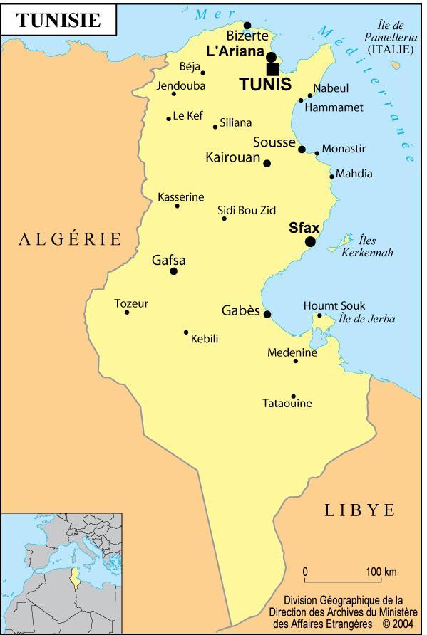 Tunisie Carte Ville