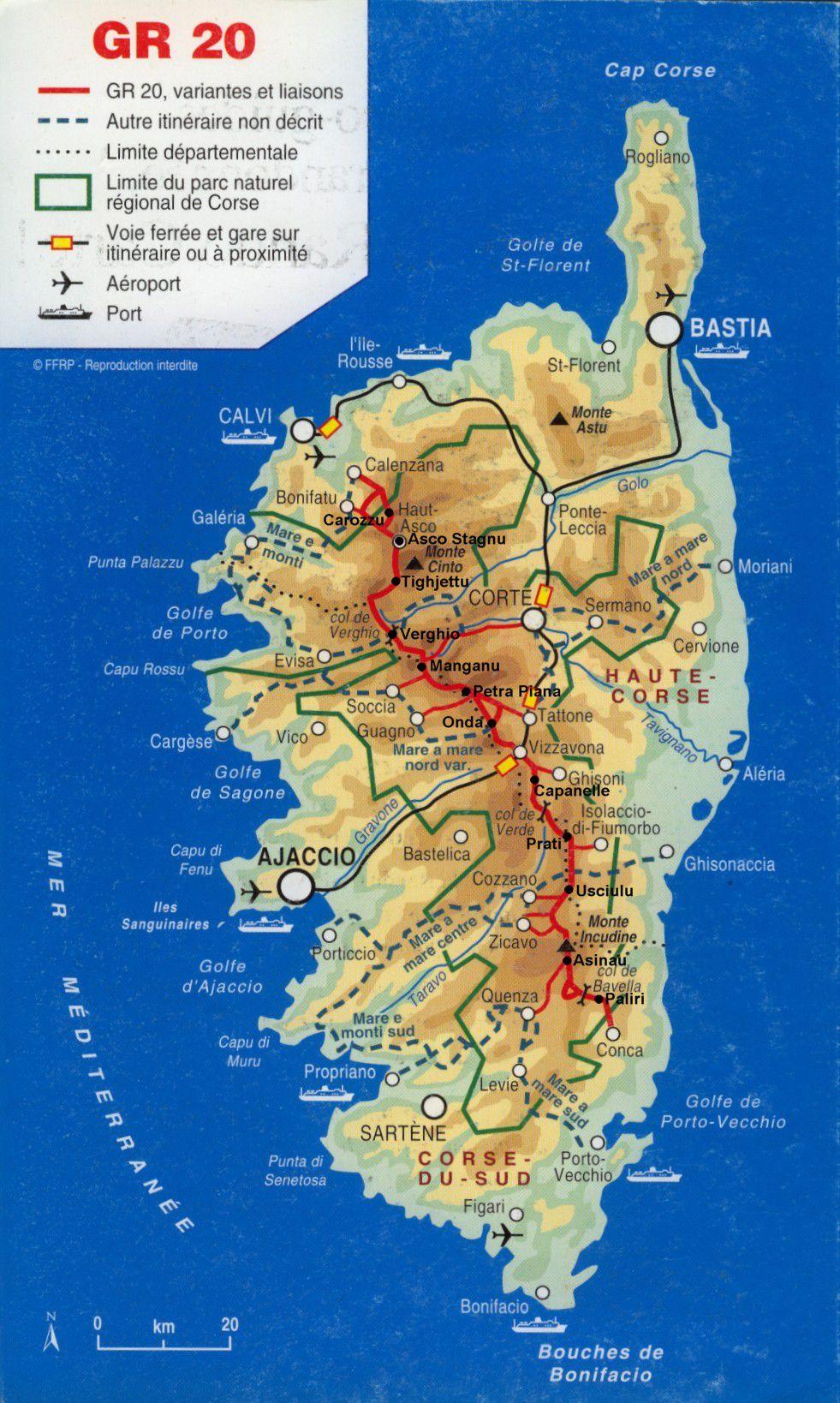 Carte administrative de la Corse
