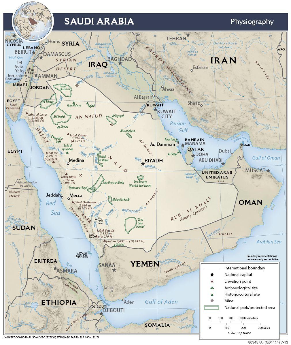Carte de l'Arabie Saoudite - Politique