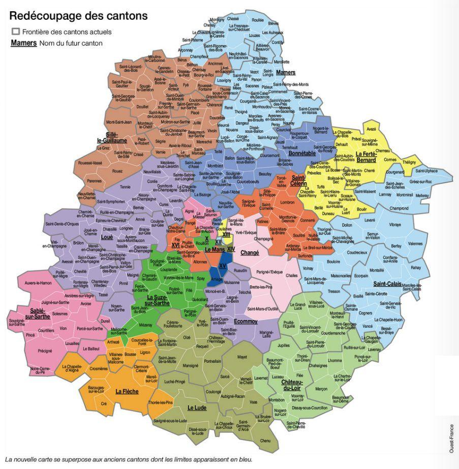 Carte des cantons de Sarthe