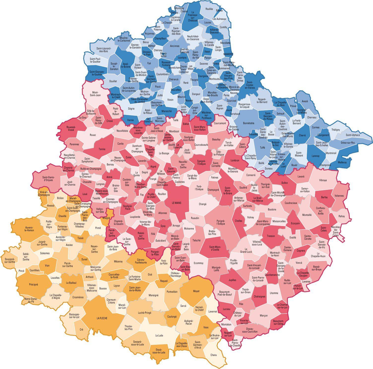 Carte des communes de Sarthe