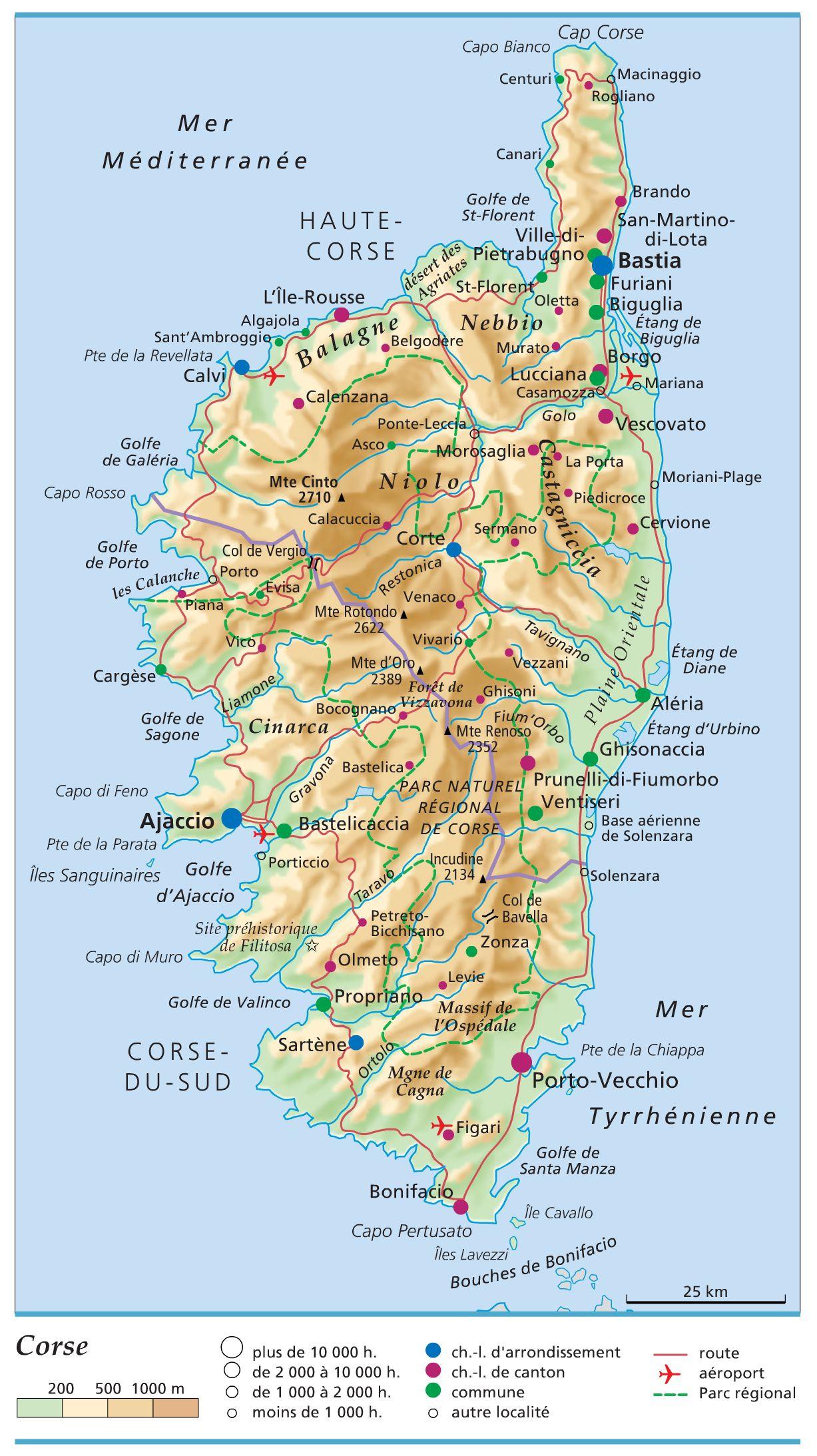 Carte De La Corse Corse Cartes Des Villes Reliefs