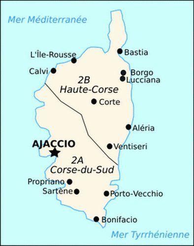 Carte des départements de Corse