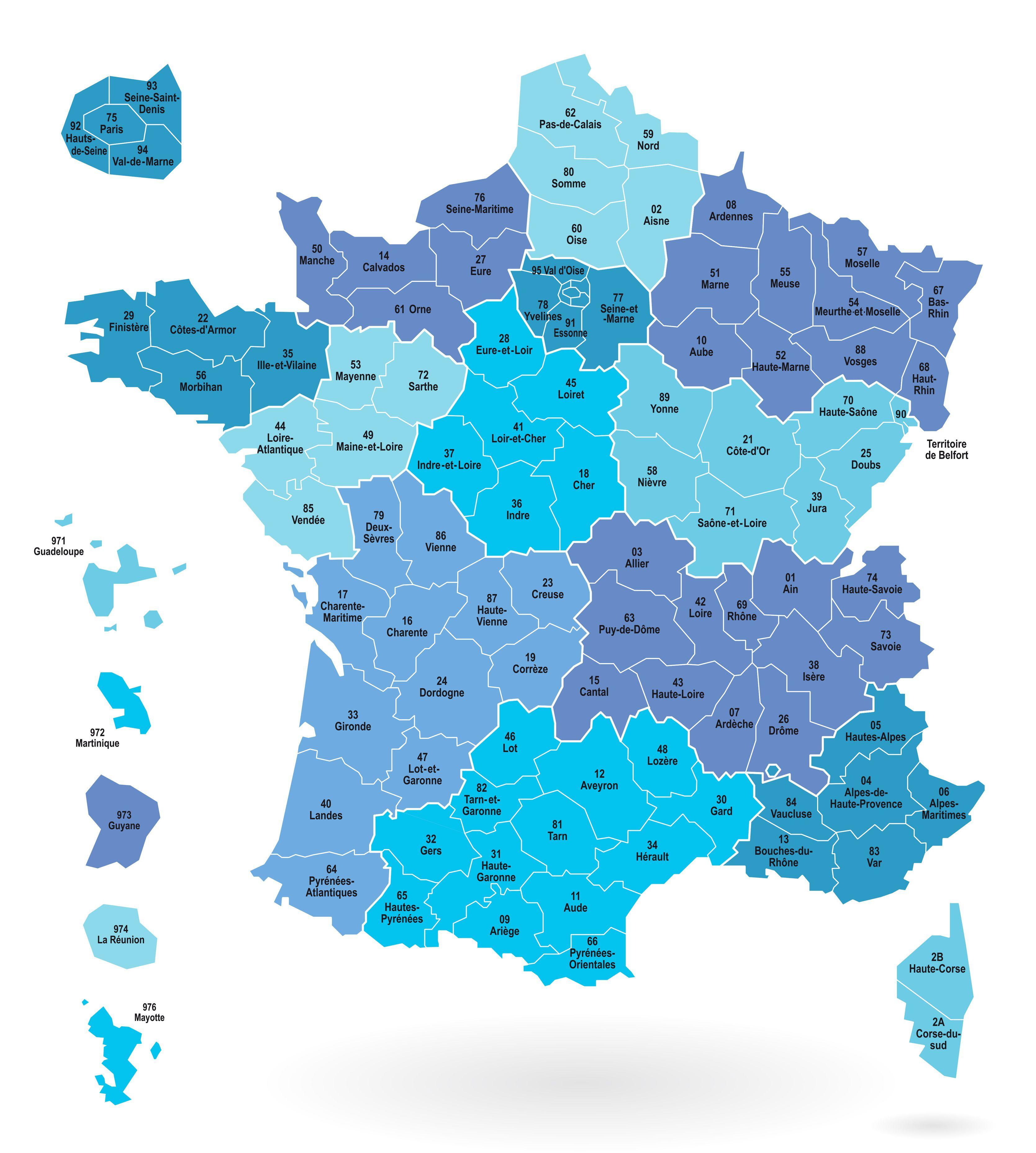 Carte des départements et régions de France