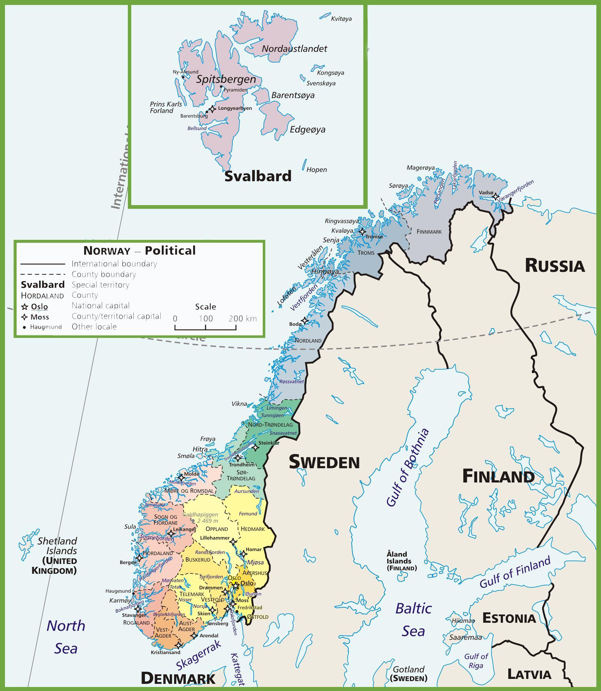 Carte de la Norvège et Svalbard