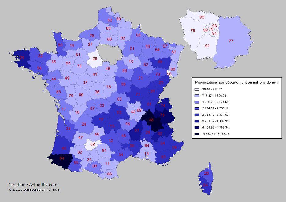 Carte des précipitations en France