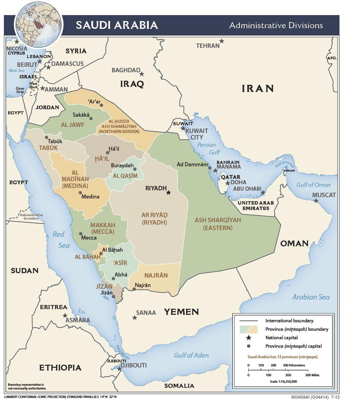 Carte des régions d'Arabie Saoudite