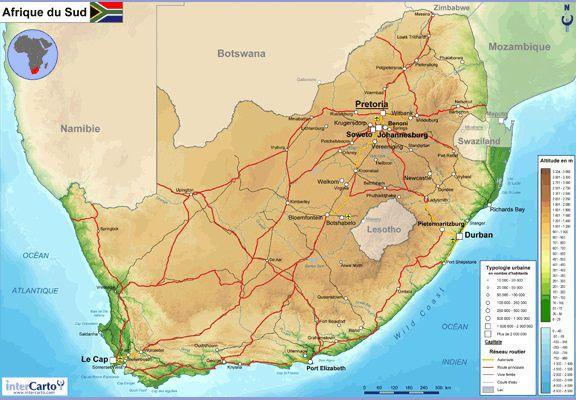 Carte de l'Afrique du Sud - Afrique du Sud carte sur le ...