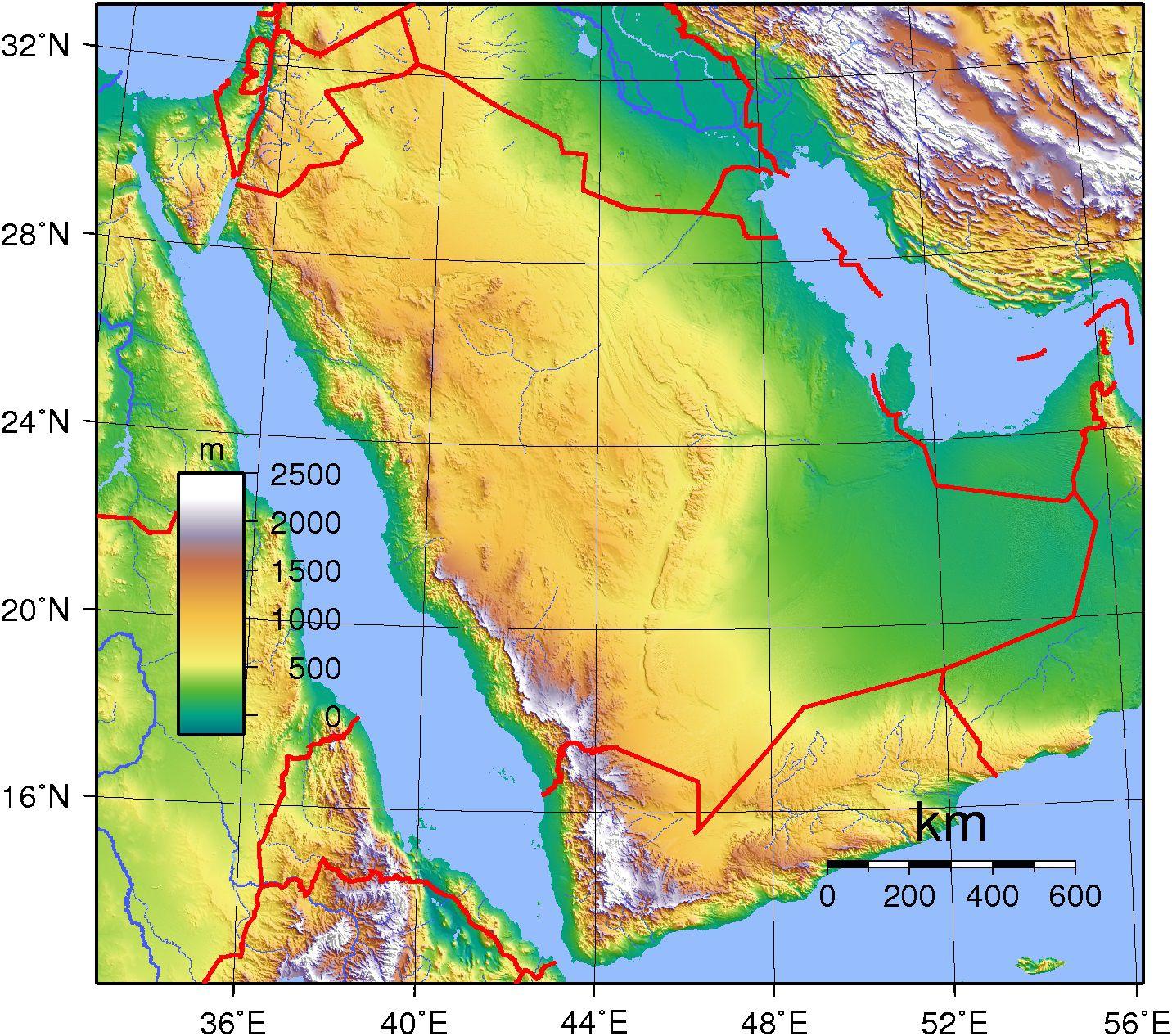 Carte du relief de l'Arabie Saoudite
