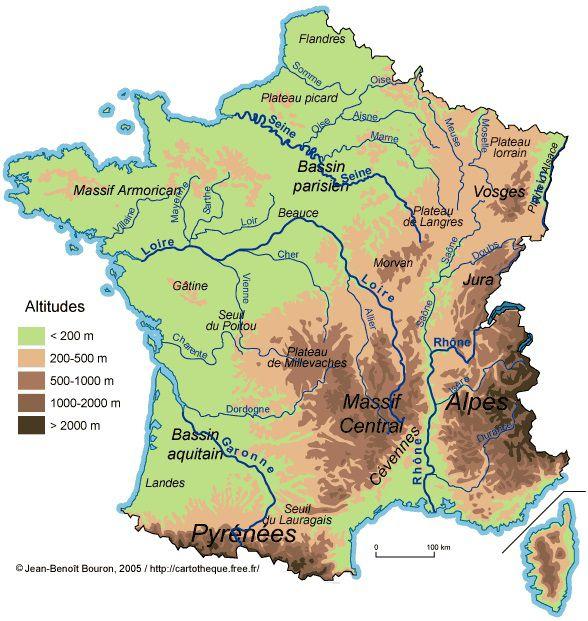 Carte du relief de France
