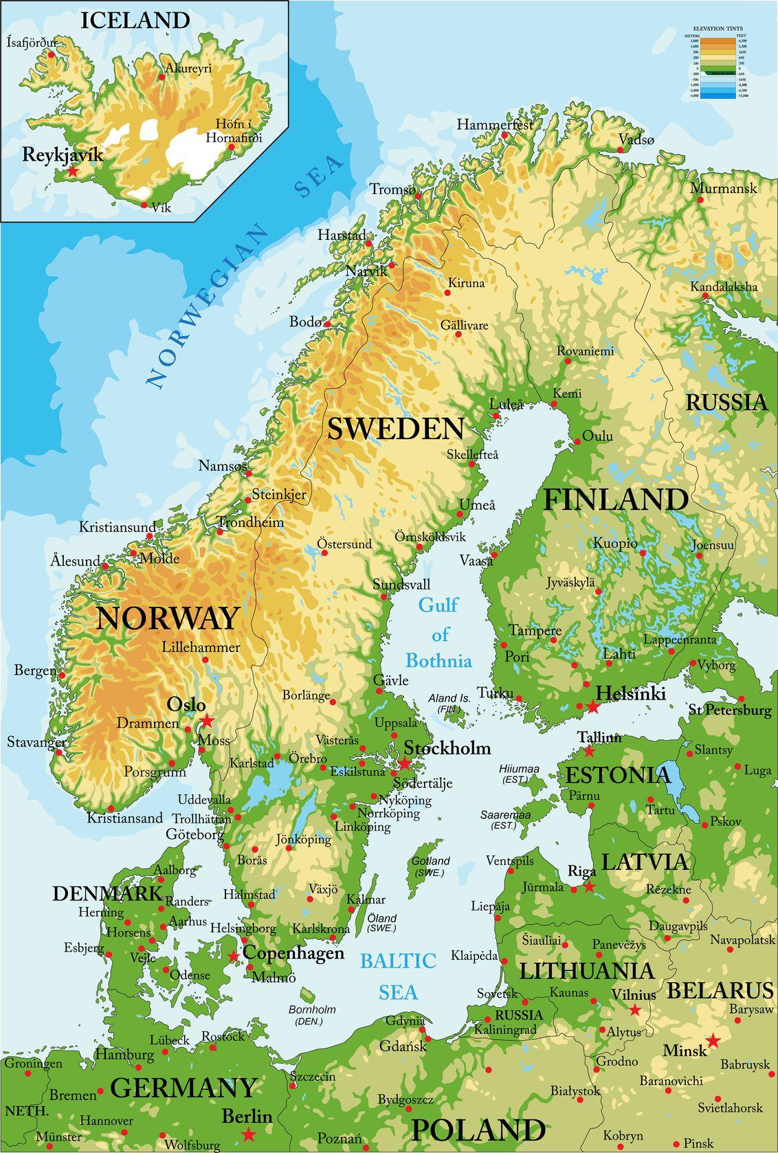 Carte du relief de la Norvège