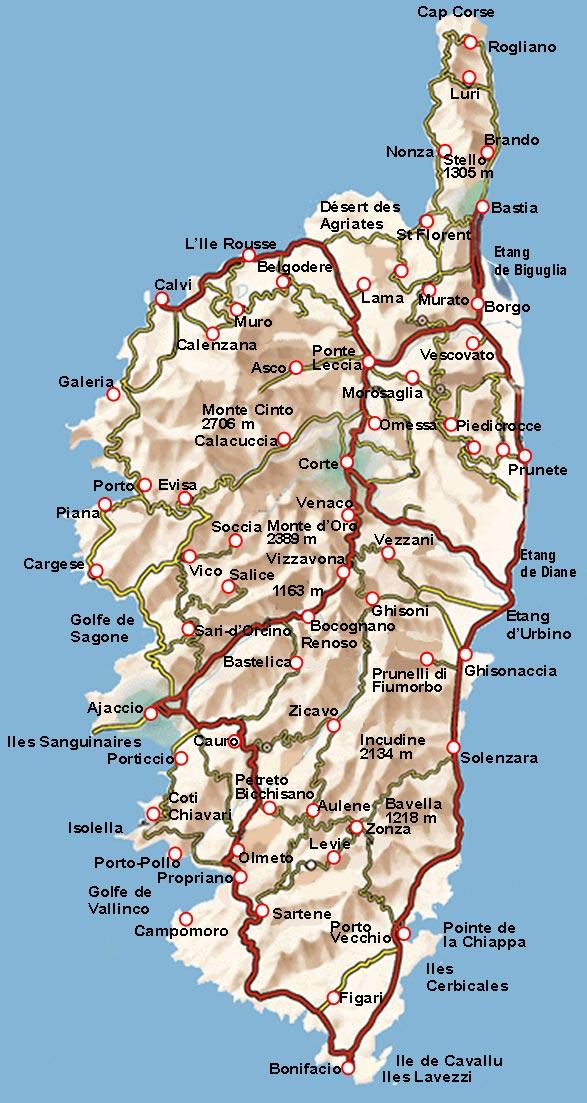 Carte des routes de Corse