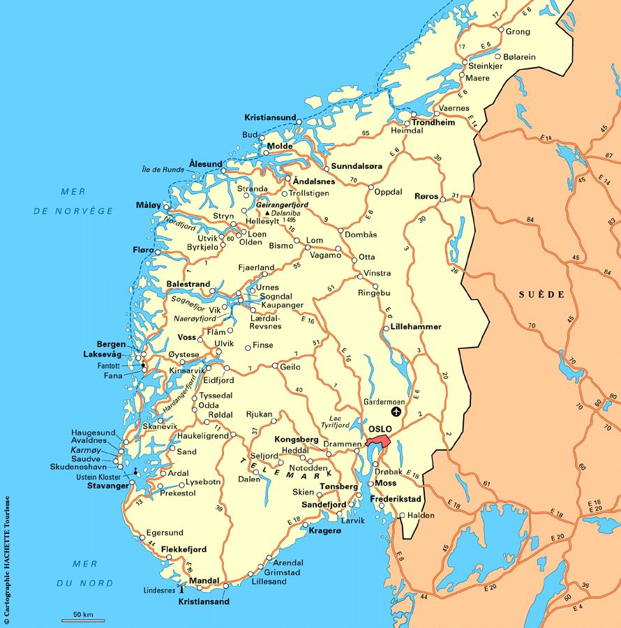 Carte routière de la Norvège