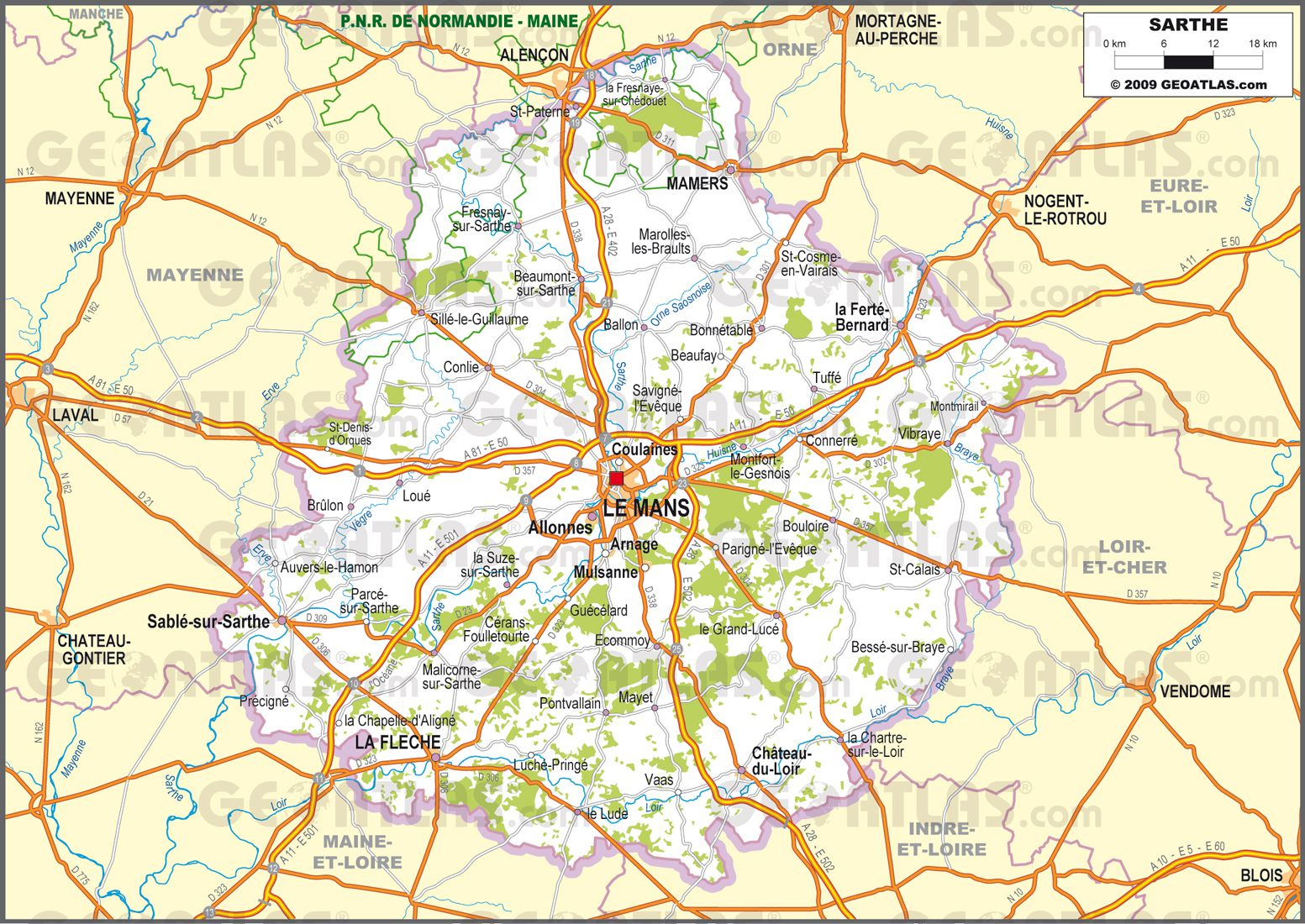 Carte routière de la Sarthe