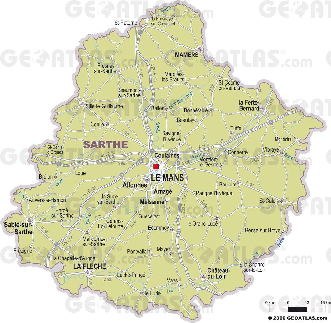 Carte de la Sarthe détaillée