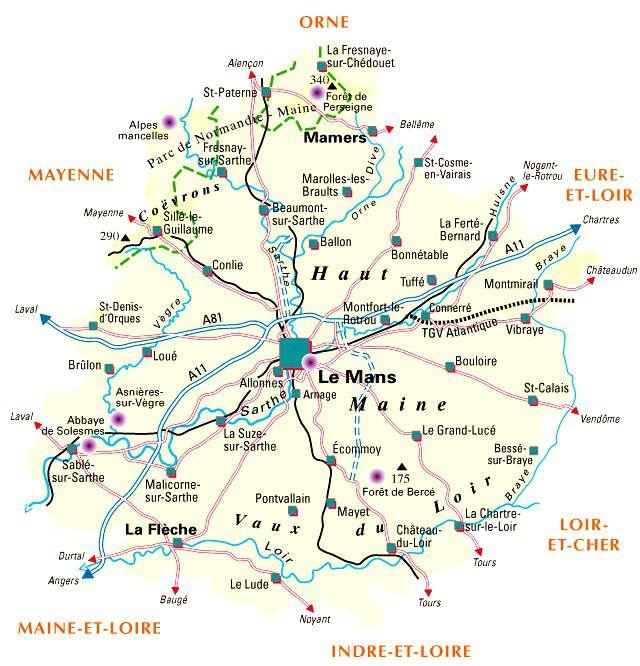 Carte de la Sarthe - Politique