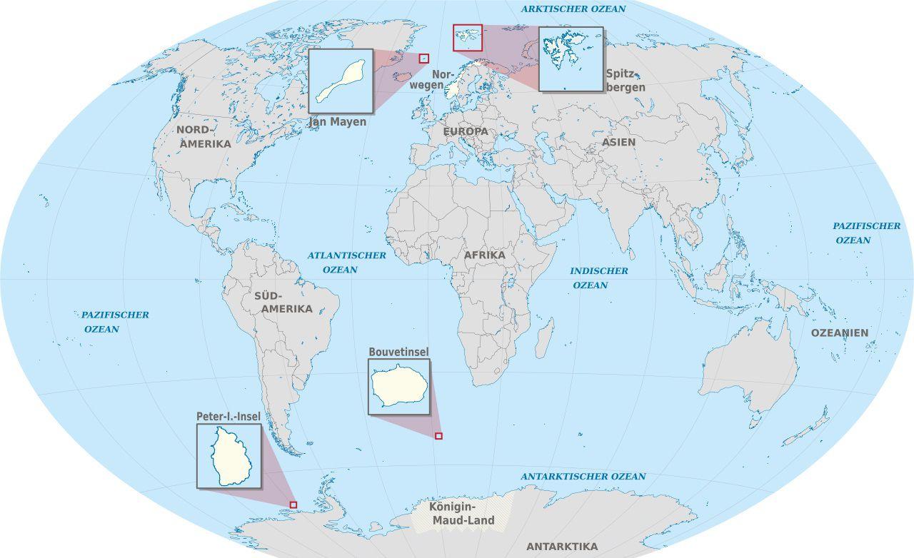 Carte des territoires de la Norvège