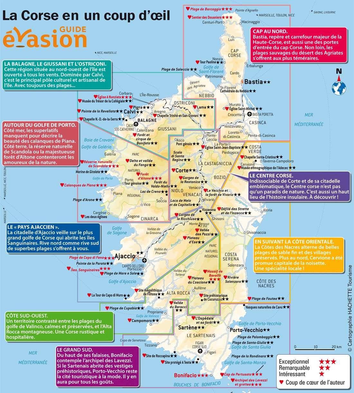 Carte touristique de Corse