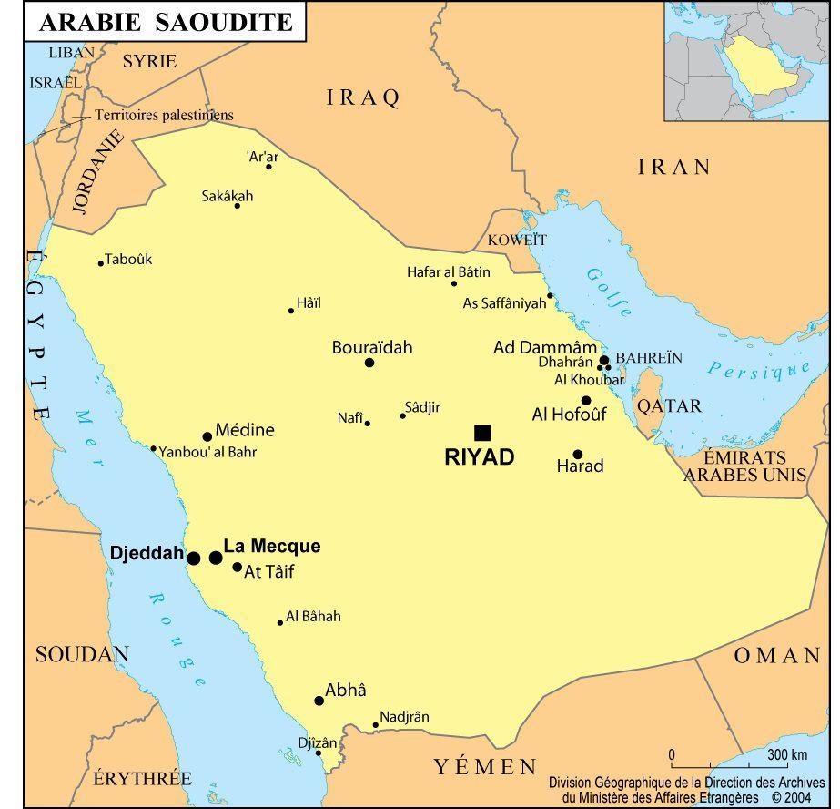Carte des villes d'Arabie Saoudite