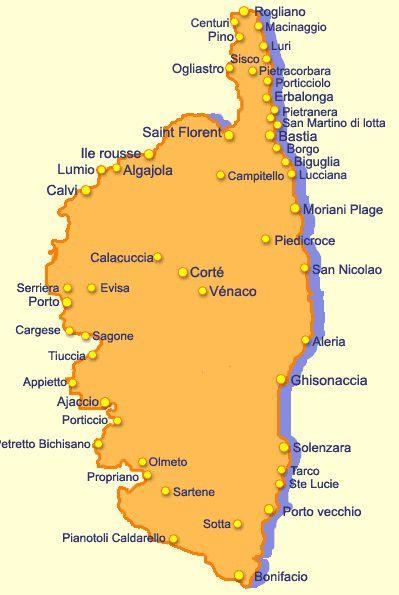 Carte Des Villes De Corse