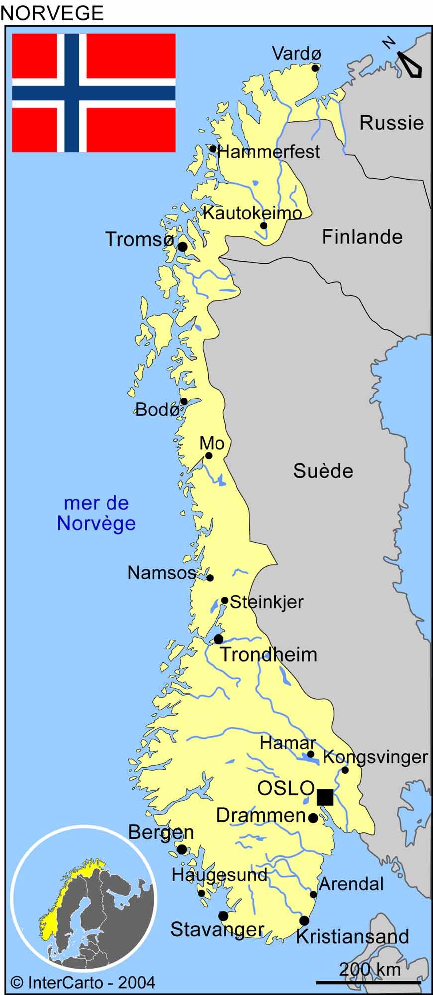 Carte des villes de Norvège