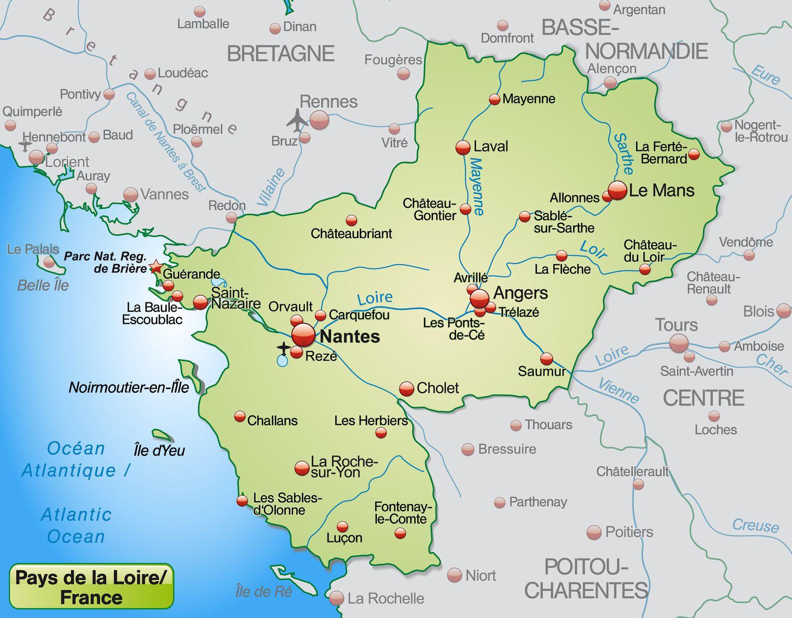 Carte des Pays de la Loire - Pays de la Loire carte des ...