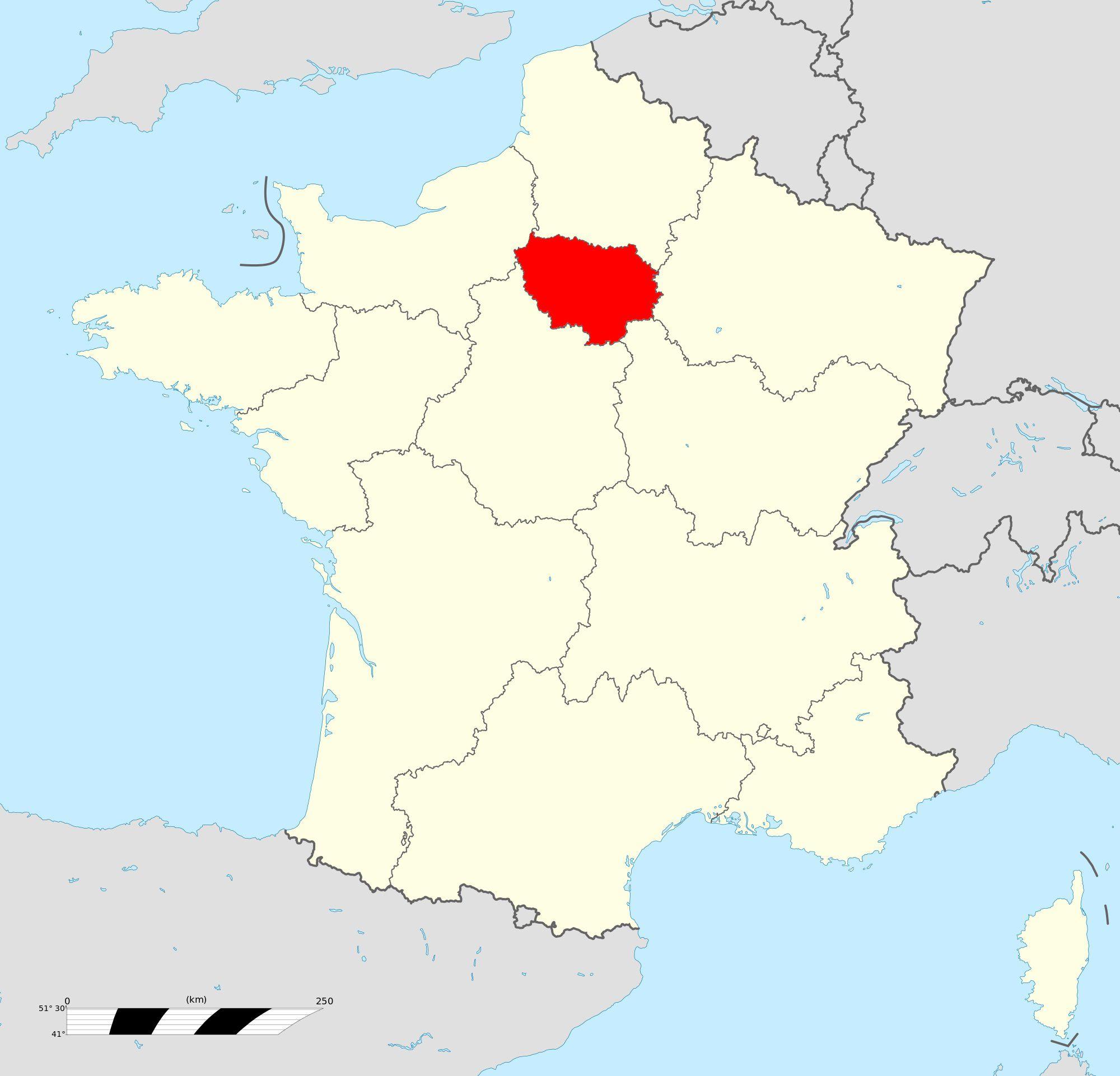 Carte de l 39 le de france le de france carte des villes for Jardin remarquable ile de france