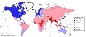 Carte Dépenses santé par pays