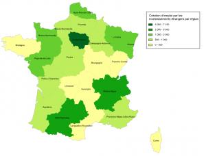 Carte Investissement étrangers par régions